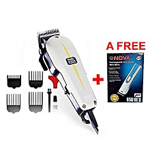 Super Taper Professional Hair Clipper Shaving Machine+ a FREE Nova Rechargeable Hair Trimmer