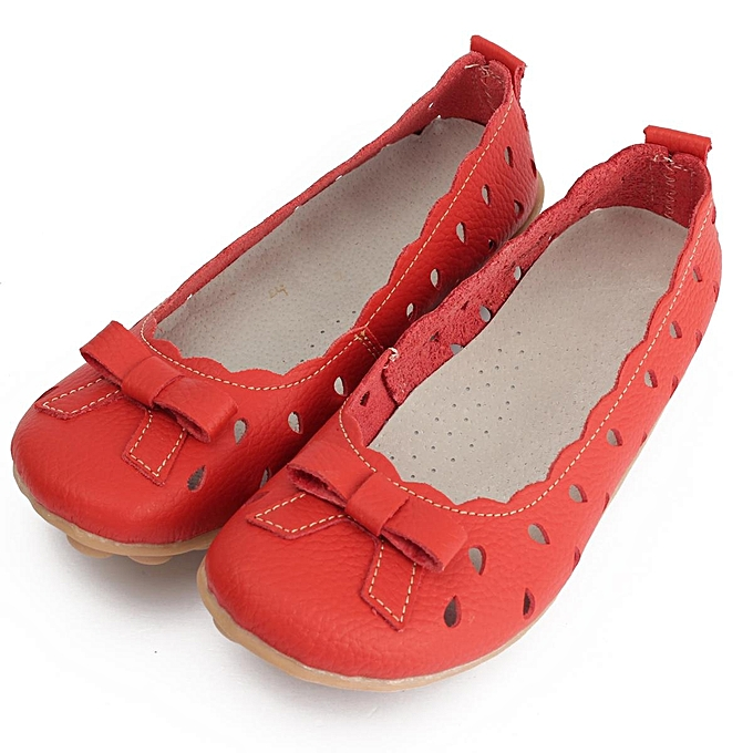 Women Leather Bow Hollow Sandals Ballet Flat Dance Oxford Moccasin Shoes Loafer