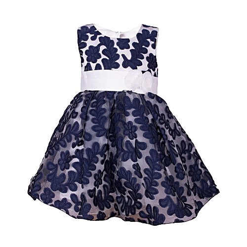 f320b0c935fc Generic Navy Blue Baby Girl Lace Dress Formal Pageant Wedding Party ...