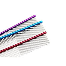 16cm High Quality Pet Comb Professional Steel Grooming Comb Cleaning Brush -Red