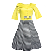 Yellow Bubbly Striped Skater Dress.