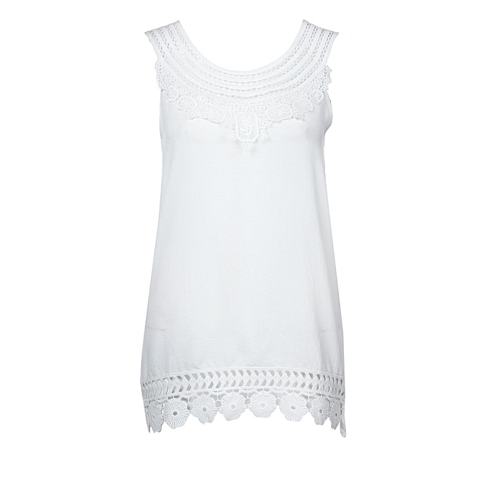 60f901b9687 Generic Women O-Neck Sleeveless Pure color Lace Plus Size Vest Tops Loose T-