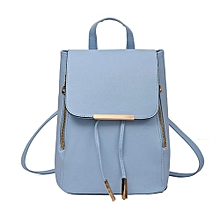Olivaren 2Pcs Fashion Women Girls Leather Backpack Travel School Handbag Clutch Bag BU-Blue