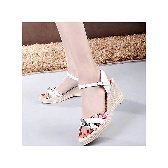51e9f0a96 ... Jiahsyc Store Ladies Women Wedges Shoes Summer Sandals Platform Toe High -Heeled Shoes-White ...