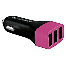 Trica: Pink 3.1A Ultra-Fast Universal Car Charger with 3 USB Ports, Over-Charge & Short-Circuit Protection