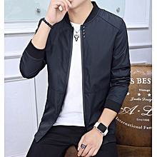 Large Size Men's Jacket Baseball Collar Pure Four Button Coat Youth Pilot Slim-black