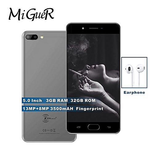 X6 Fingerprint Mobile Phone5.0inch 3500mAh Android7.0 Quad Core 3GB+32GB13.0MP+8.0MP4G Mobile Phone