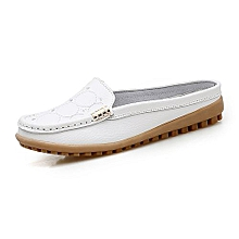 Women Loafers Genuine Leather Casual Shoes For Female Moccasins (White)