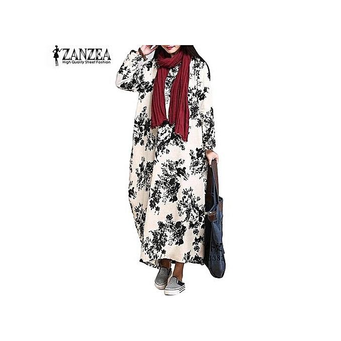 19b4400e59 ZANZEA Oversized Womens Cotton Linen Floral Long Sleeves Casual Long Maxi  Dress Kaftan (Black)