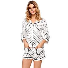 Women Sleepwear Dot Print Button Shirts Elastic Waist Pj Shorts Pajama Set ( White )