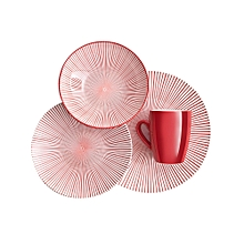 16pc - Starburst Coral Dinner Set - Red/White