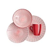 16pc - Starburst Coral Dinner Set - Red/White