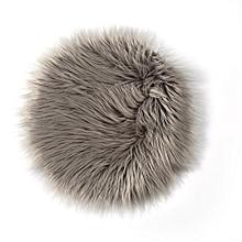 Plush Round Carpet Throw Rug Anti-Skid Shaggy Area Rug Soft Floor Mat Rug light gray