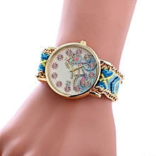 Bracelet Wrist Watch Weaved Rope Band Knitted Gift Women Dial Bicycle Pattern