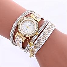 Women Ladies Metal Decorative Circle Quartz Watch Winding Bracelet WH