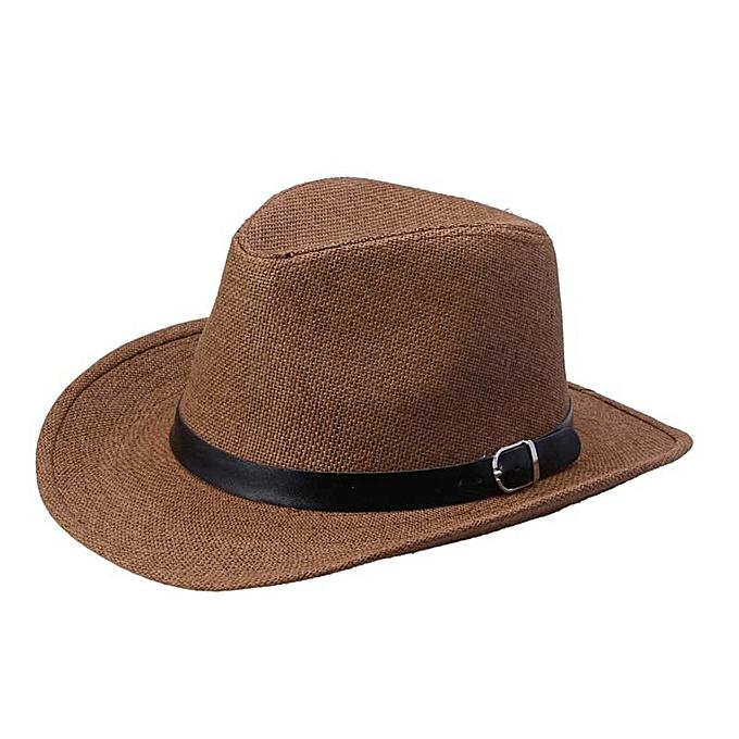 76786f58ad4 Eissely Summer Men Straw Hat Cowboy Hat DC - Dark coffee   Best ...