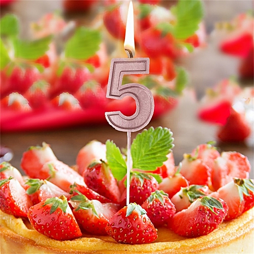 Generic Jummoon Shop Rose Gold Number 5 Birthday Numeral Candles Cake Decor For Adults Kids Party