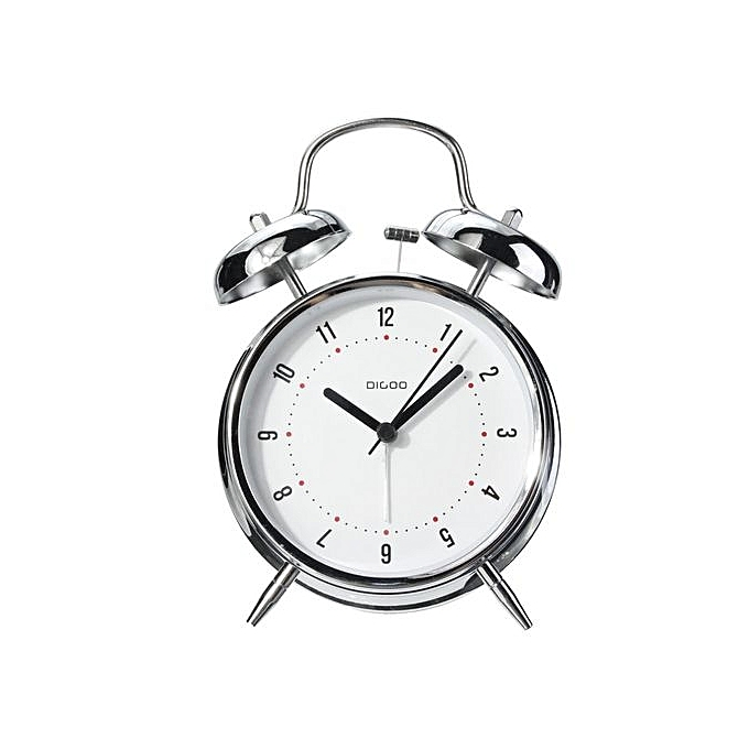 universal digoo 4 u0026quot  retro metal twin bell alarm clock quartz movement night light battery silver