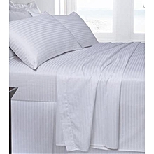 Pair of White Bed sheets-Stripped