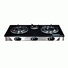 Automatic 3-Burner Table Top Gas Cooker - Black