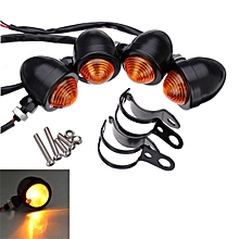 4 pcs BULLET Turn Signal for Harley and Clamps (Black)