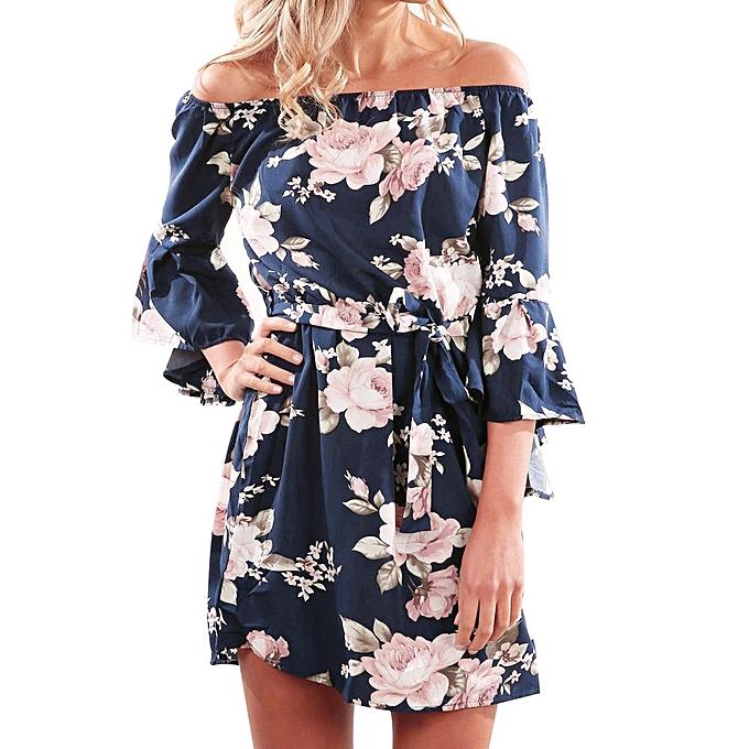 b307356143 Hiamok_Women Summer Off Shoulder Floral Short Mini Dress Ladies Beach Party  Dresses L