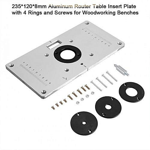 Buy universal 2351208mm aluminum router table insert plate with 4 2351208mm aluminum router table insert plate with 4 rings and screws for greentooth Images