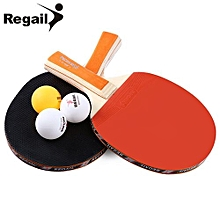 A508 Table Tennis Ping Pong Racket Two Long Handle Bat Paddle Three Balls-ORANGE