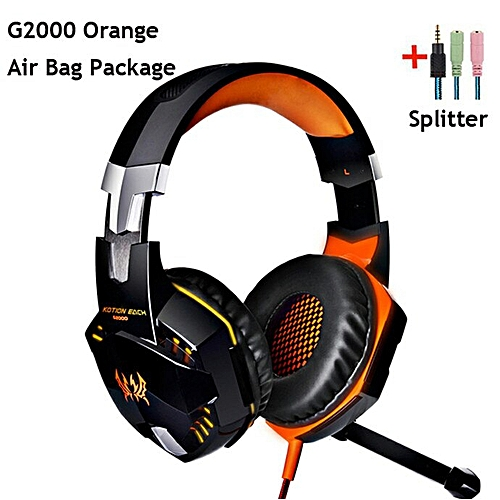G2000 G4000 G9000 Gaming Headphones Deep Bass Wired Headsets with Mic Led  Light Earphones for PS4 New Xbox Laptop PC Gamer(G2000 ORANGE CABLE)