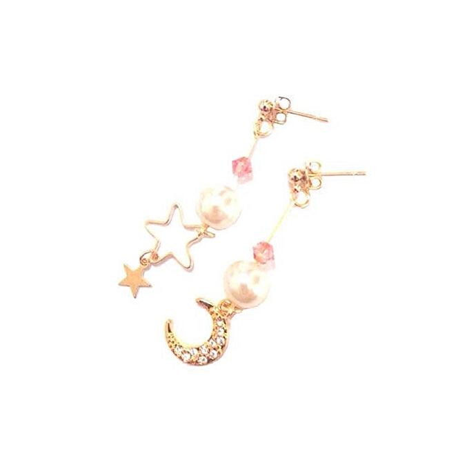 Sweet And Lovely Stars Moon Asymmetrical Earrings Long Without Ear Holes