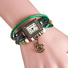 Quartz Weave Around Leather Trojans Bracelet Lady Woman Wrist Watch GN