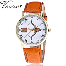 Vansvar Africashop Watch  Watch Pattern Color Male And Female Strap Wrist Watch-Coffee