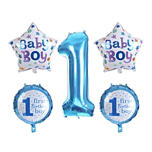 Home-5PCS/Set 1st First Birthday Celebration Balloons Baby Girl Boy Printed Balloon Blue