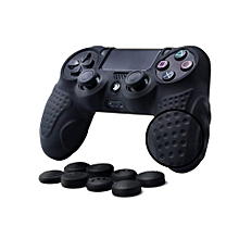 PS4 Controller DualShock 4 Skin Grip Anti-slip Silicone Cover Protector Case For Sony PS4/PS4 Slim/PS4 Pro Controller With 8 Thumb Grips (Black)