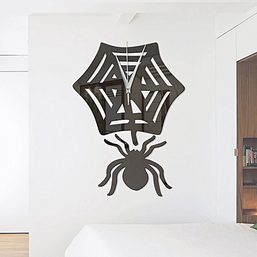 generic diy spider acrylic mirror wall stickers wall clock stickers