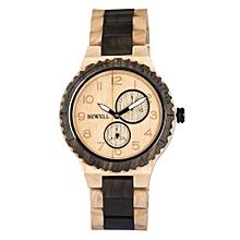 ZS-W154A Men Wood Watch Quartz Movement Stopwatch Date Luminous Vintage Analog Wrist Watch