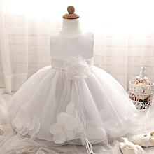 Hot Sale Lovely Baby Girls Dress Fluffy Child Skirt Sleeveless Princess Dress With Flower-White