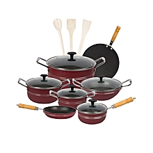 Fine Stylish 15 pieces non-stick cooking set (Glass Lids) - Red