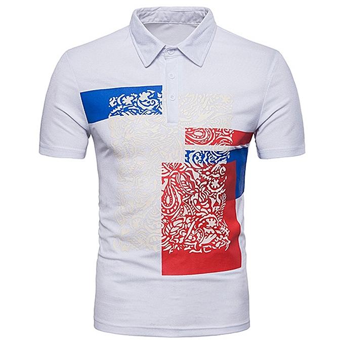 4ecabc281945 Mens Color Blocking Printing Turn-down Collar Tee Tops Short Sleeve Slim  Sports T-
