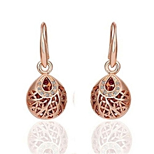 Women Fashion Jewelry Alloy Base Gold-Plated Rhinestone Crystal Rose Gold Color Drop Ball Earrings