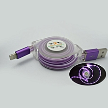 Micro USB Type-C Charger Date Cable Phone Charging Cord LED Light Charger purple