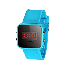 LED Screen Digital Silicone Strap Girl Boy Quartz Sport Kids Wrist Watch  -SkyBlue