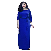 Summer O-Neck Elegant Maxi Dress Women Lace Up Women Casual Black Dress High Waist Plus Size Fashionable Dresses Vestidos-blue