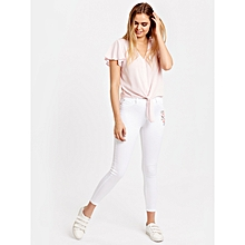 White Fashionable Regular Waist Standard Trousers