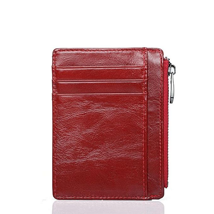 buy online 18c3e 84c19 Leather Men Or Women Card Holder Wallets Zipper Coin Pocket Male Credit  Card Purse Female Ladies Small Wallet Purse(Dk Blue)