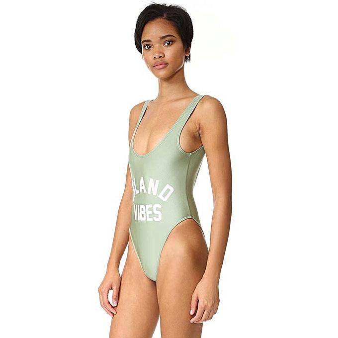 f6f955fffe Generic Women's High Cut One Piece Swimsuit Backless Monokini Bikini  Bathing Suit Letter Print Swimwear Beachwear