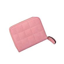Women Plaid PU Leather Zipper Purse -Pink