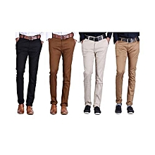 Khaki Trouser 4pack -off- White ,Black, Brown, Beige - Straight Slim Fit+ Free pair of socks