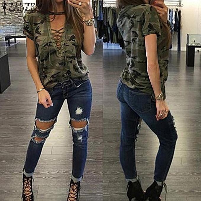 0a07358472422c ... Camouflage Print Casual Loose Tops Tees Blusas · ZANZEA Women Summer  Short Sleeve Tops T-Shirt Choker V Neck Lace-up Bandage