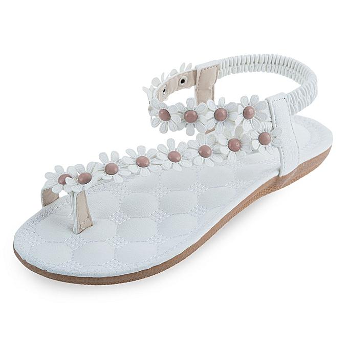Bohemia Ladies Flip Flop Sandals Flower Decoration White Best